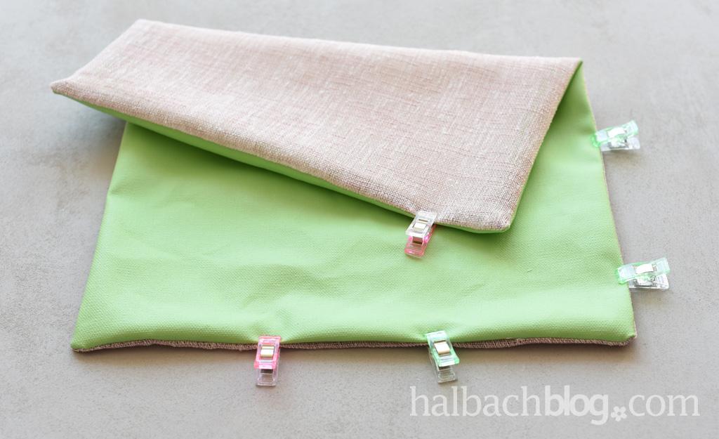Halbachblog I DIY Ausmalband: Anleitung Clutch nähen I Tafelstoff I Blumenmuster I Grün, Rosa, Pink