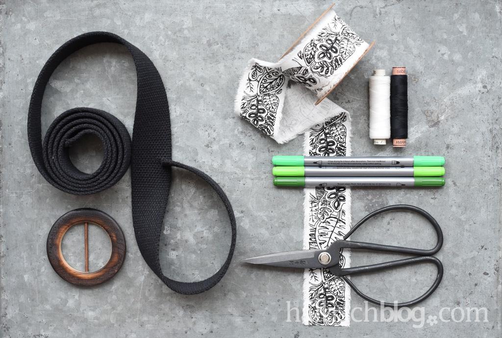 Halbachblog Anleitung: Material für einen genähten Gürtel mit DIY-Ausmalband