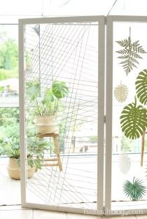 Dekoidee Halbachblog: DIY-Raumteiler im Jungle-Look mit Papierblättern und recycelter Baumwollschnur