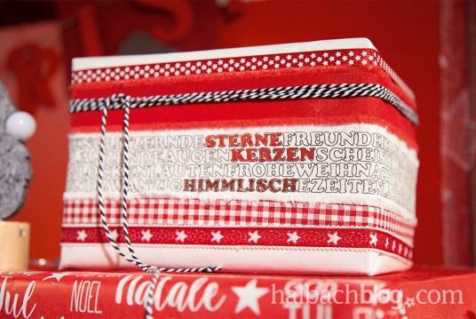 Halbachblog: DIY-Ideen mit Ausmalband mit weihnachtlichen Schriftzügen und Sternen; Geschenke verpacken, Kissen nähen, Dekoideen