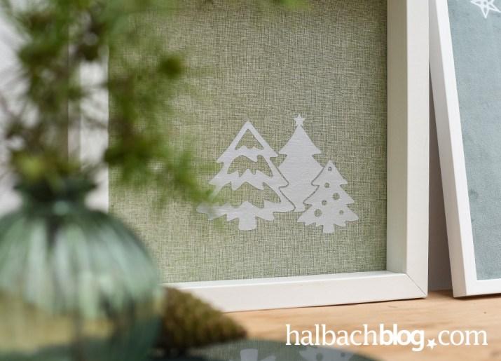 Halbachblog I DIY Anleitung für Stoffbild aus Samt I Freebie Plotterdatei Sterne Bäume