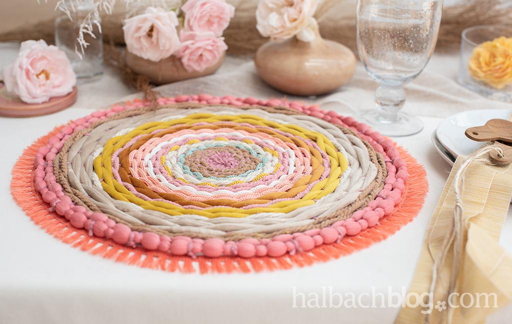 Halbachblog I DIY-Idee: rundes Tischset weben mit Kordeln und Schnüren