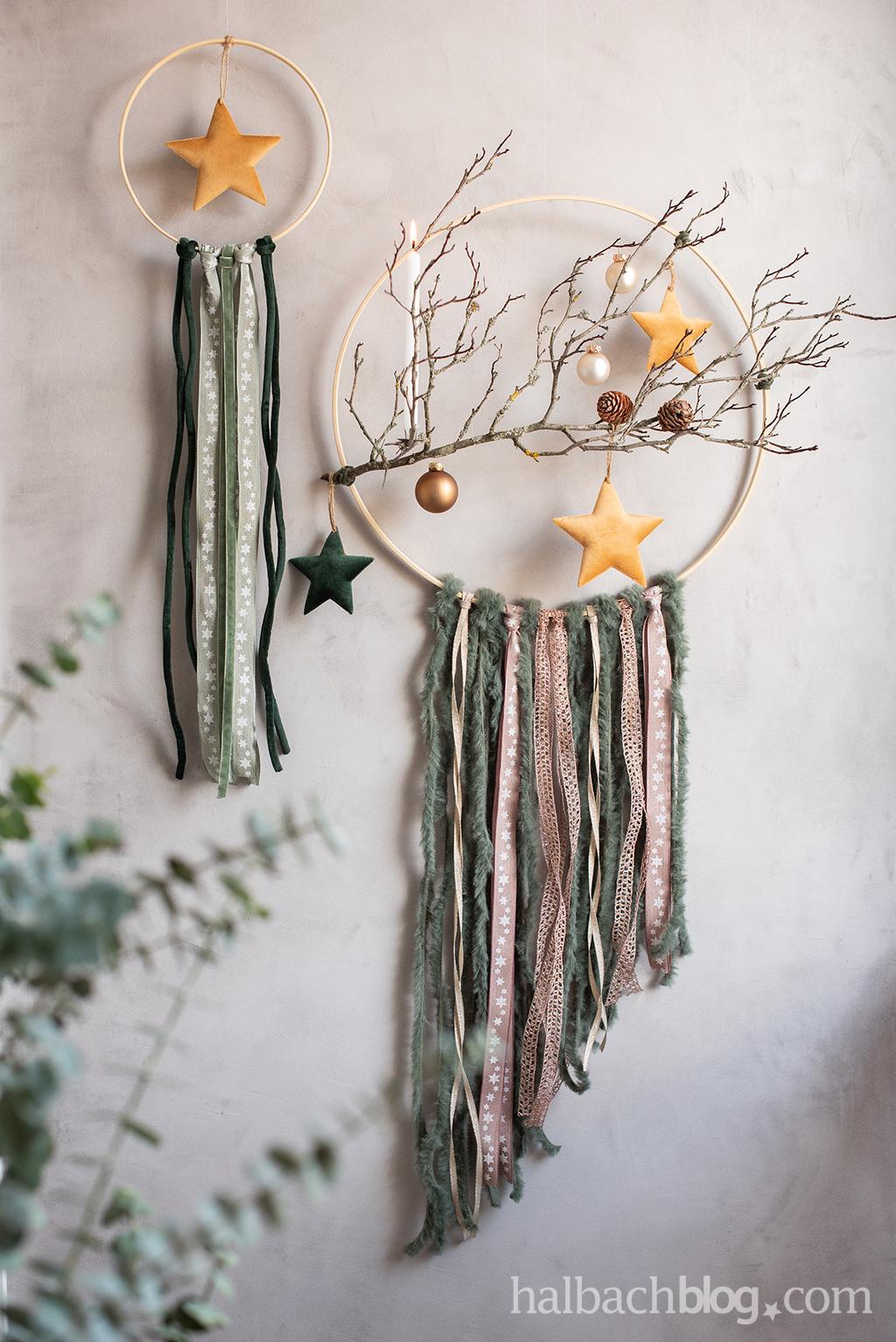 Halbachblog I Winter Dekoidee: DIY-Dekoring ganz natürlich mit Ast, Bändern, Schnüren und Samtsternen