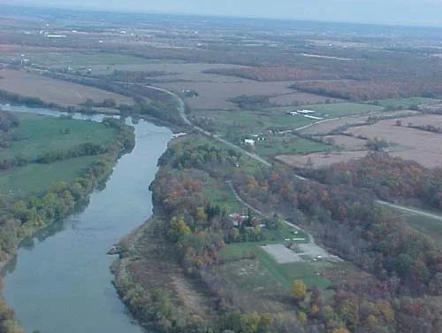 An aerial view of the Grand River shows how it twists and turns through Haldimand County