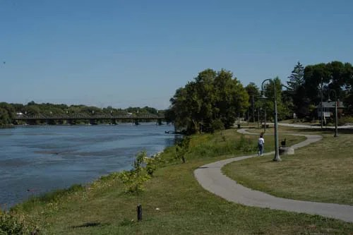 Residents and tourists alike enjoy the trail that affords them wonderful views of the mighty Grand River