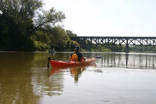 A woman on a canoe reconencts with nature along the Grand River