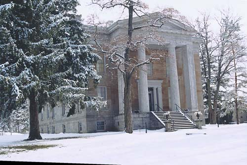 The Ruthven national Historic Site with a layer of snow atop it