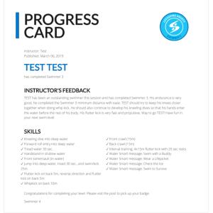 Swimming Progress Card