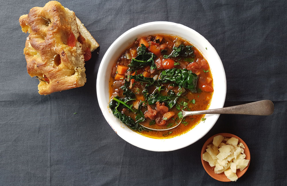 Smoked Lentil + Tomato Stew with Cavolo Nero