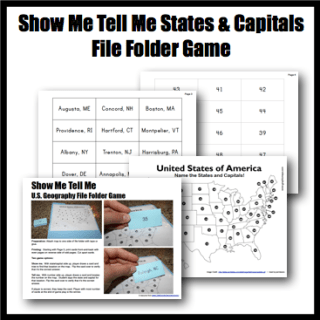 US Geography States Capitals File Folder Game Half A Hundred - Show us map with states and capitals