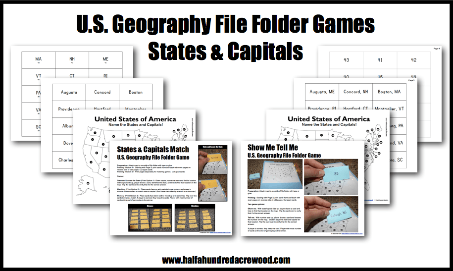 U.S. Geography States & Capitals File Folder Game