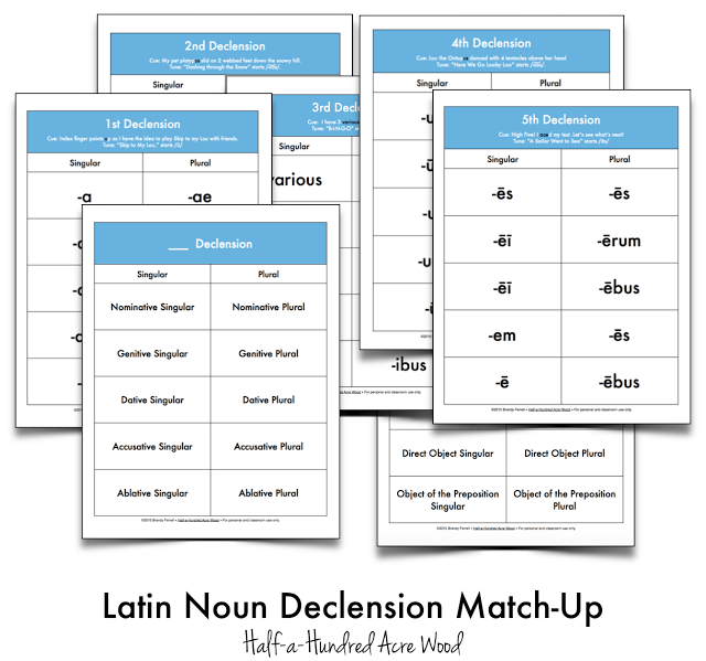 Latin Noun Declension File Folder Games & Cues {Printables}