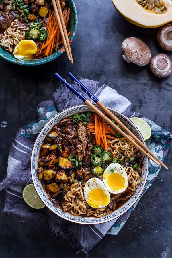 Crockpot Crispy Caramelized Pork Ramen Noodle Soup w-Curry Roasted Acorn Squash  halfbakedharvest.com @hbharvest