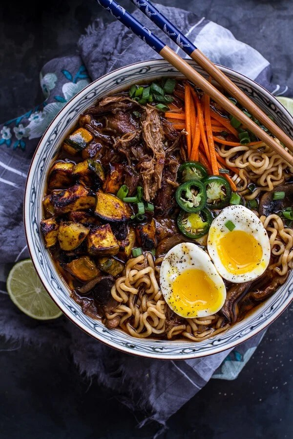 Crockpot Crispy Caramelized Pork Ramen Noodle Soup w/Curry Roasted Acorn Squash  halfbakedharvest.com @hbharvest