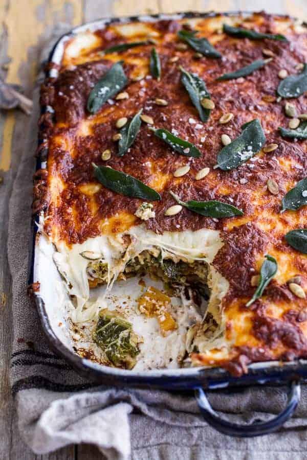 Simple Caramelized Butternut Squash and Kale Florentine Lasagna  halfbakedharvest.com @hbharvest