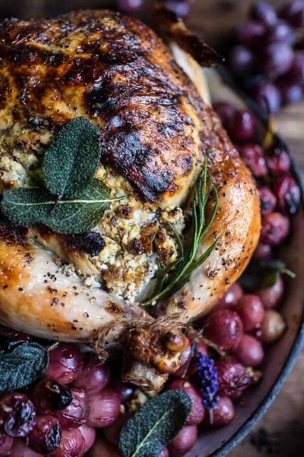Fall Harvest Cider Roasted Chicken with Walnut Goat Cheese + Grapes | halfbakedharvest.com @hbharvest
