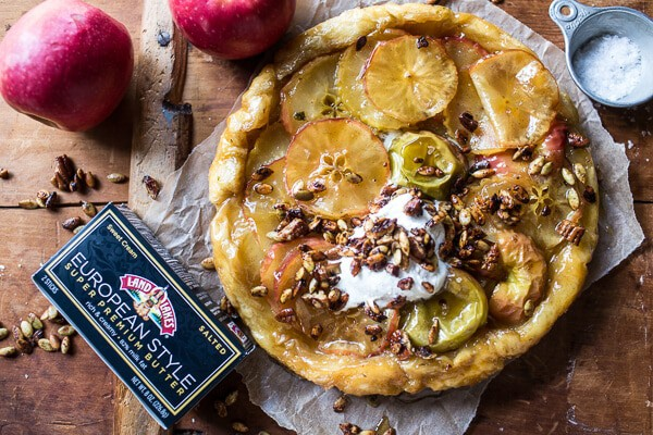 Salted Maple Apple Tarte Tatin with Vanilla Cream + Toasted Pumpkin Seeds | halfbakedharvest.com @hbharvest