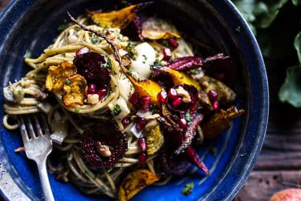 Miso Browned Butter and Brie Pasta with Roasted Beets + Walnuts | halfbakedharvest.com @hbharvest