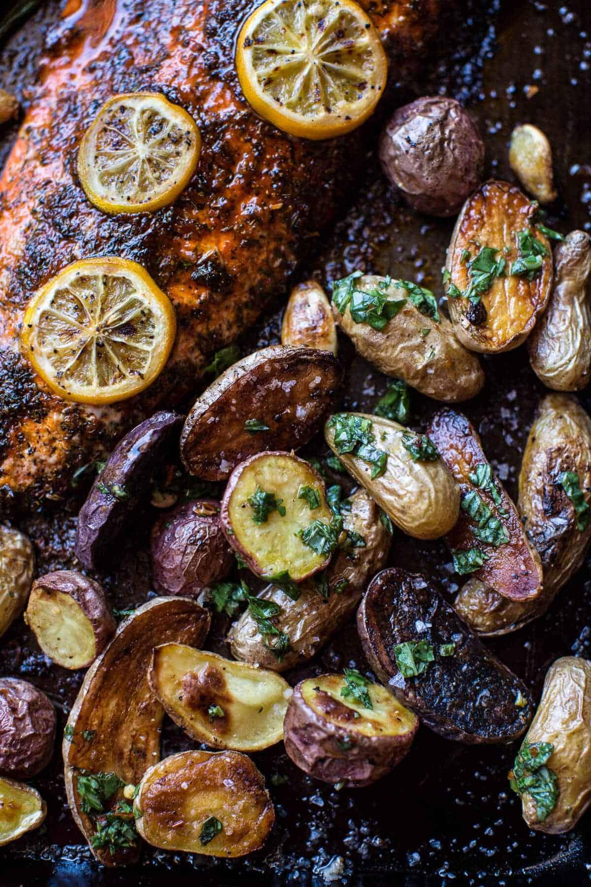 One Pan Lemon Roasted Salmon, Potatoes and Parmesan Asparagus | halfbakedharvest.com @hbharvest
