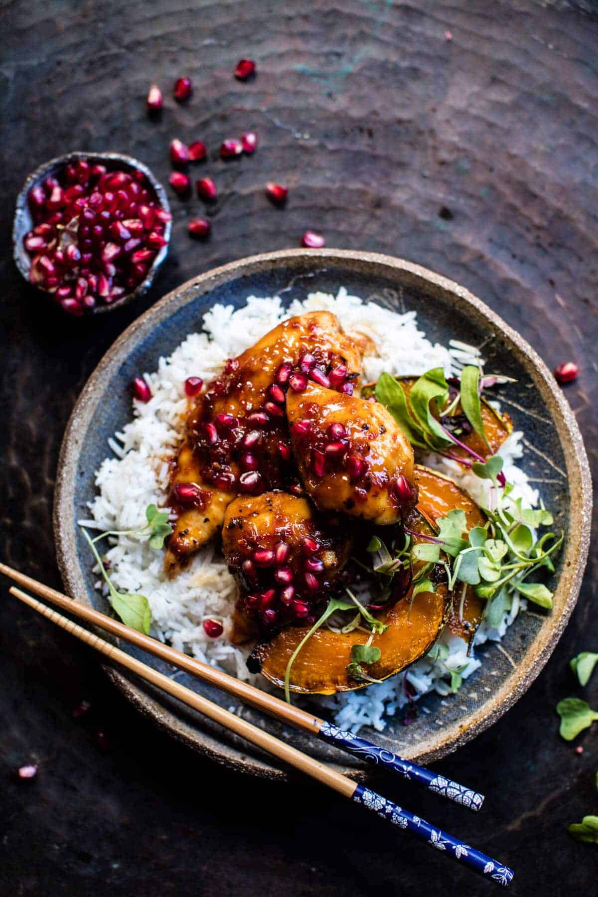 Sheet Pan Sticky Pomegranate Chicken And Honey Roasted Squash