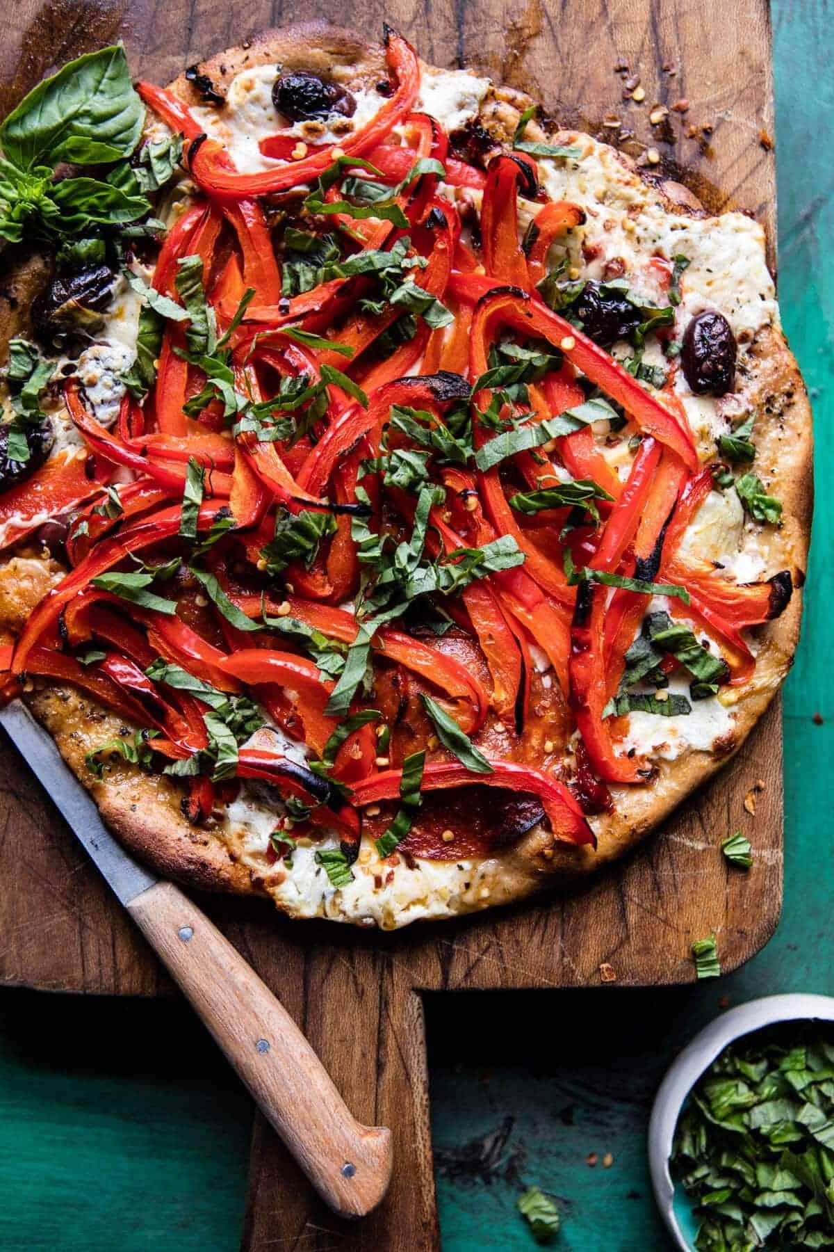 Mediterranean Roasted Red Pepper Pizza | halfbakedharvest.com @hbharvest