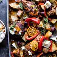 Best Easy Greek Sheet Pan Chicken Souvlaki and Potatoes.