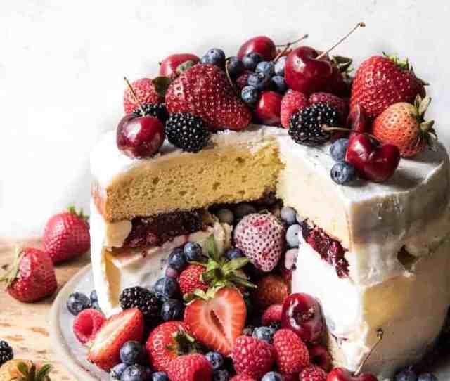 Triple Layer Roasted Berry Pinata Ice Cream Cake Halfbakedharvest Com Hbharvest