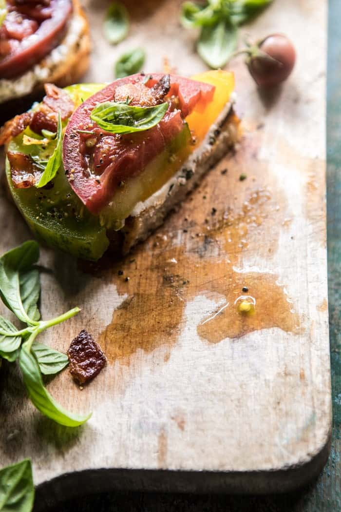 Opened Faced Tomato and Goat Cheese Sandwich with Hot Bacon Vinaigrette | halfbakedharvest.com @hbharvest