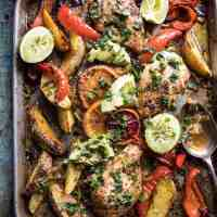 Sheet Pan Cuban Chicken With Citrus Avocado Salsa.