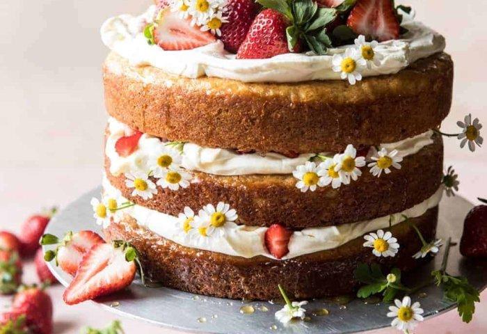 Strawberry Chamomile Naked Cake Half Baked Harvest