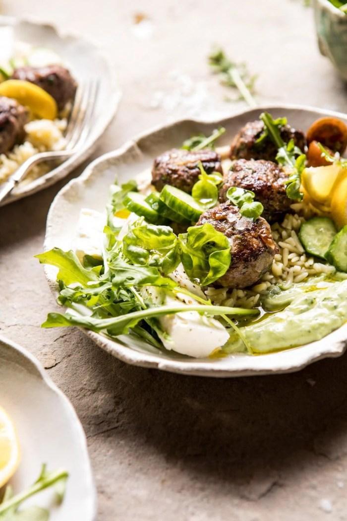Greek Lamb Meatballs with Avocado Goddess Sauce | halfbakedharvest.com #lamb #easy #meatballs