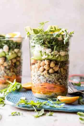 Mediterranean Chickpea and Egg Salad Jars | halfbakedharvest.com #healthy #mealprep #recipes