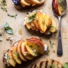 Thyme, Honey, Peach, and Goat Cheese Crostini | halfbakedharvest.com #peaches #summerrecipes #appetizers #easy