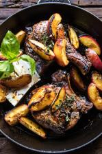 Skillet Balsamic Peach Pork Chops with Feta and Basil.
