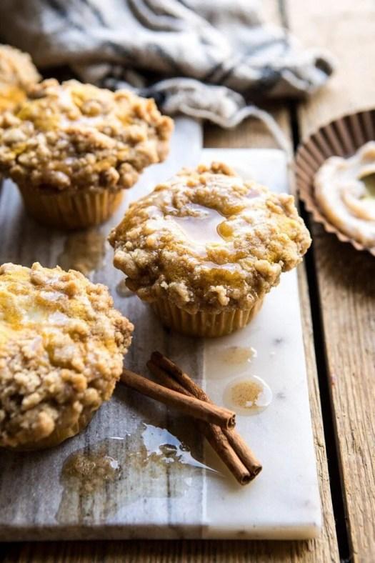 Pumpkin Coffee Cake Muffins with Cinnamon Honey Butter   halfbakedharvest.com #pumpkin #breakfast #easyrecipes #autumnrecipes #fall #thanksgiving