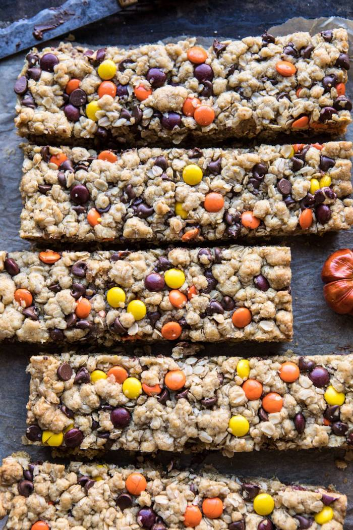 close up photo of Monster Oatmeal Chocolate Chip Cookie Bars