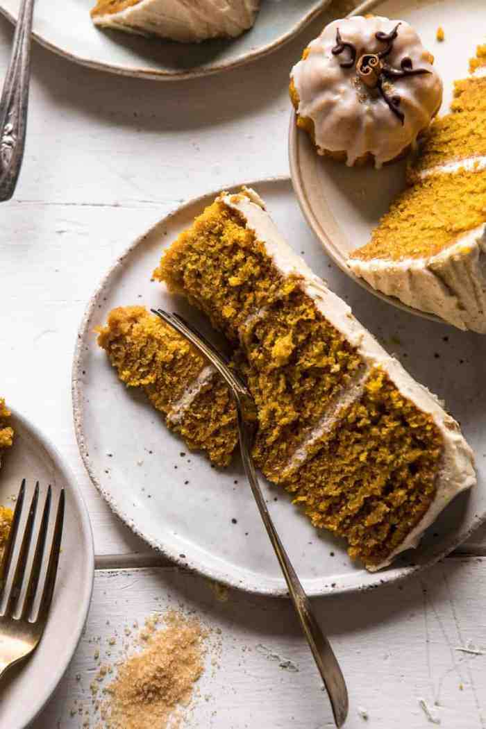 photo of Chai Pumpkin Cake slice with fork on plate