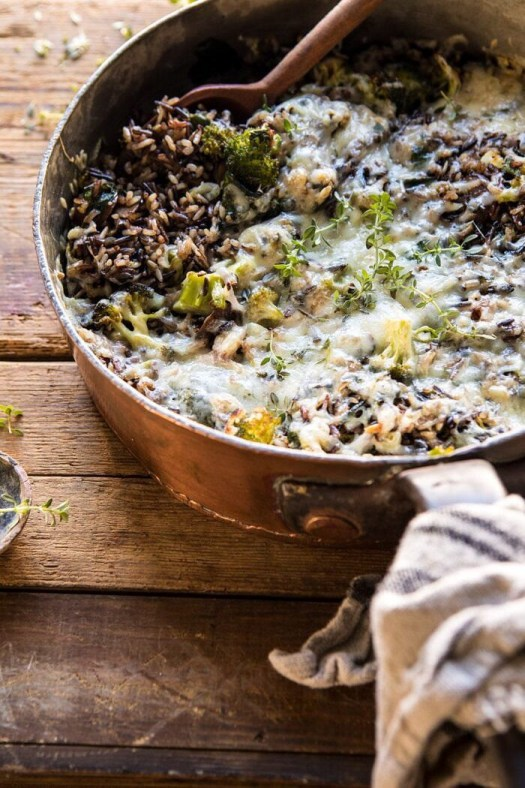One Pan Broccoli Cheese Wild Rice Casserole | halfbakedharvest.com #wildrice #broccoli #casserole #fall #winter #easyrecipes #healthy