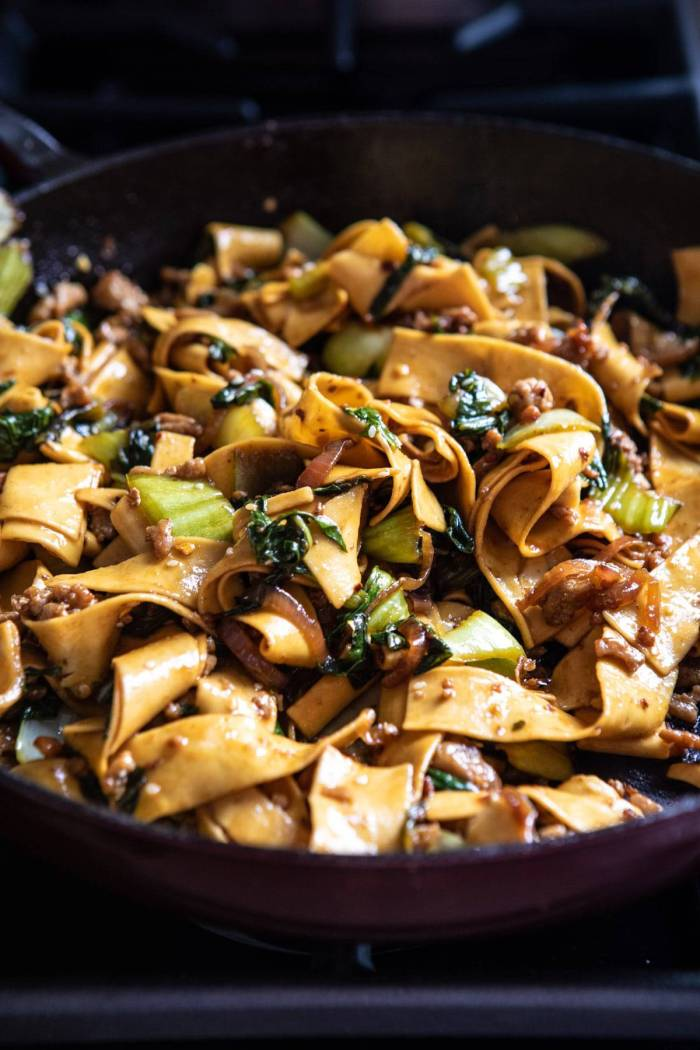 Better Than Takeout Szechuan Noodles in skillet