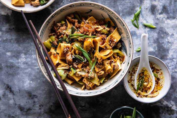 horizontal photo of Better Than Takeout Szechuan Noodles with Sesame Chili Oil