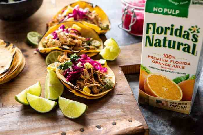 side angle front on photo of Slow Cooker Chipotle Orange Street Tacos