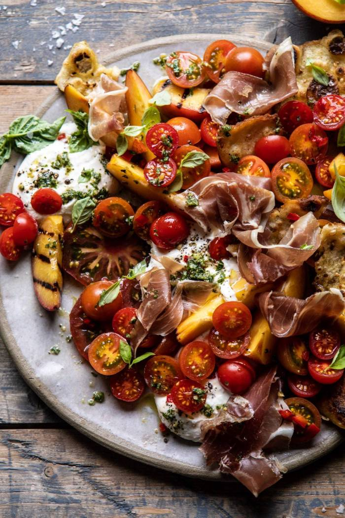 overhead close up photo of Peach Caprese Salad with Toasted Garlic Naan