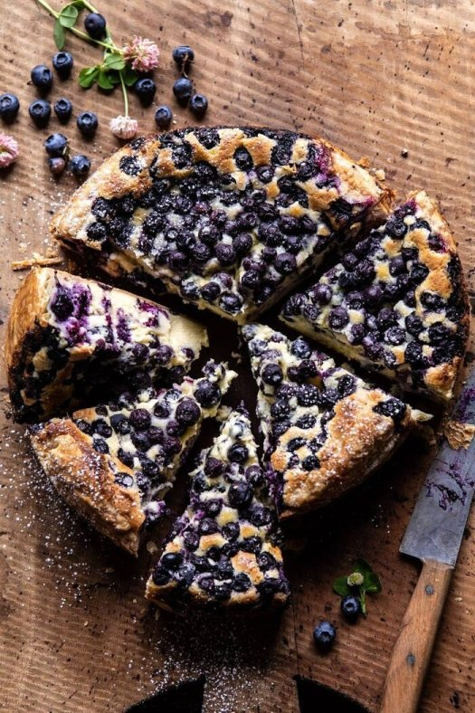 Simple Blueberry Basque Cheesecake | halfbakedharvest.com #cheesecake #blueberries #cake #easyrecipes