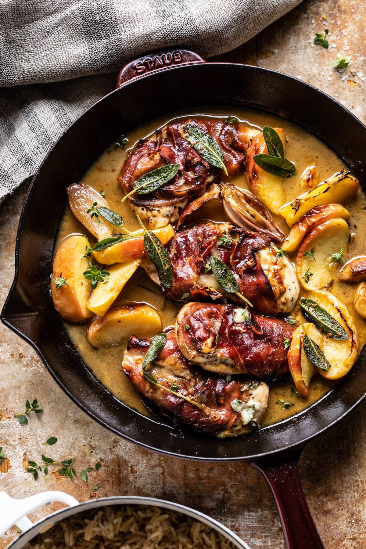 Prosciutto Apple And Sage Butter Chicken With Cider Pan