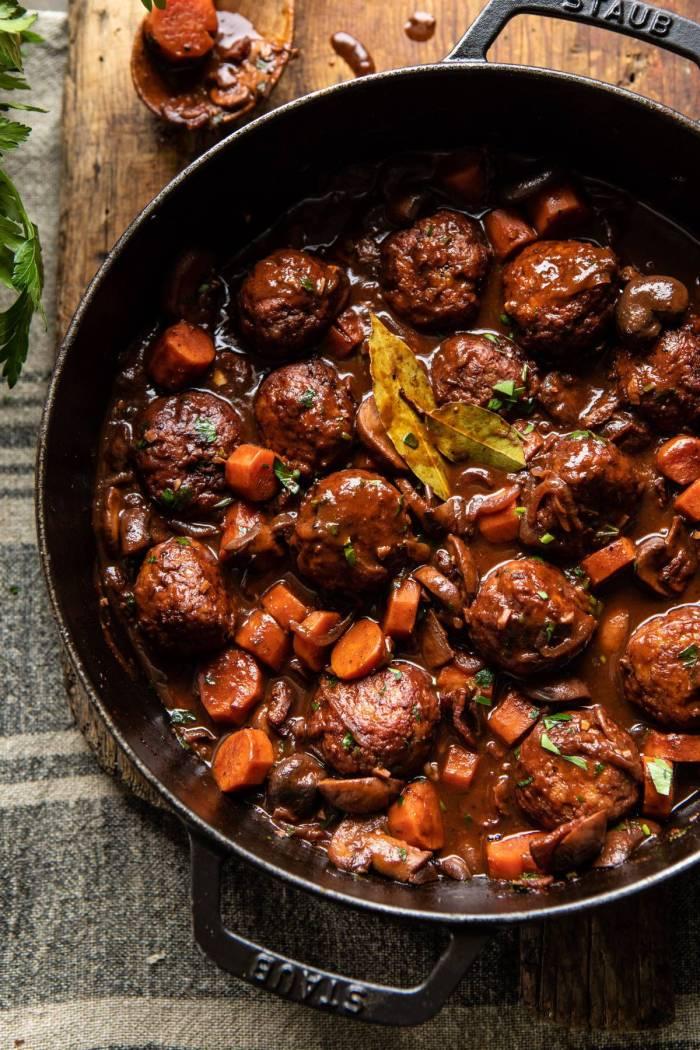 overhead photo of 30 Minute Coq au Vin Chicken Meatballs in skillet