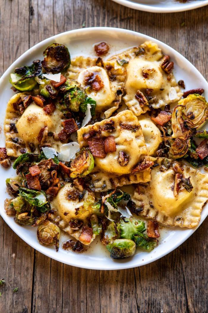 overhead close up photo of Brown Butter Brussels Sprout and Bacon Ravioli