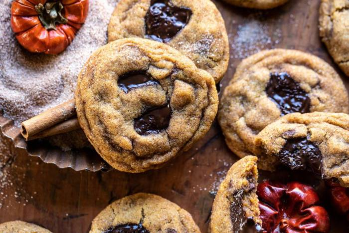 horizontal overhead photo of Pumpkin Butter Chocolate Chip Cookies