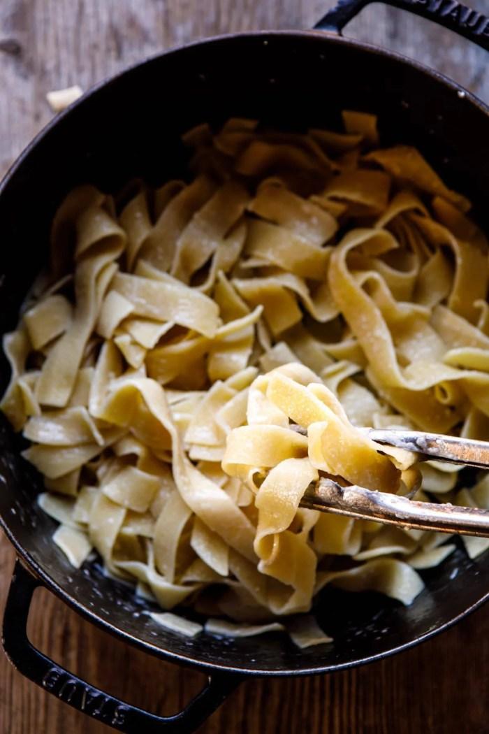 overhead photo of pasta