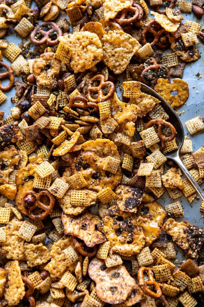 overhead photo of Spicy Ranch Chex Mix on baking sheet