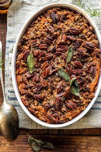 Bourbon Sweet Potato Casserole with Sweet n Savory Bacon Pecans | halfbakedharvest.com #sweetpotatoes #thanksgiving #casserole